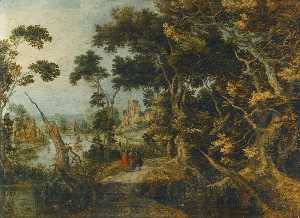 Gillis Claesz De Hondecoeter - A landscape with Christ and his disciples on the road to Emmaus