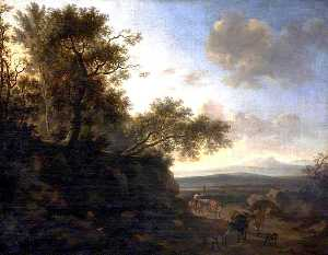 Nicolaes Berchem - Landscape with a Huntsman and Cattle