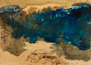 Zhang Daqian - EVENING GLOW ON THE WINTER POND