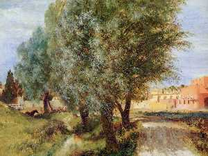 Adolph Menzel - Construction site with willows