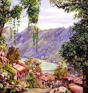 Marianne North - Looking down the Bazaar and Lake of Nynee Tal, Kumaon, North West India