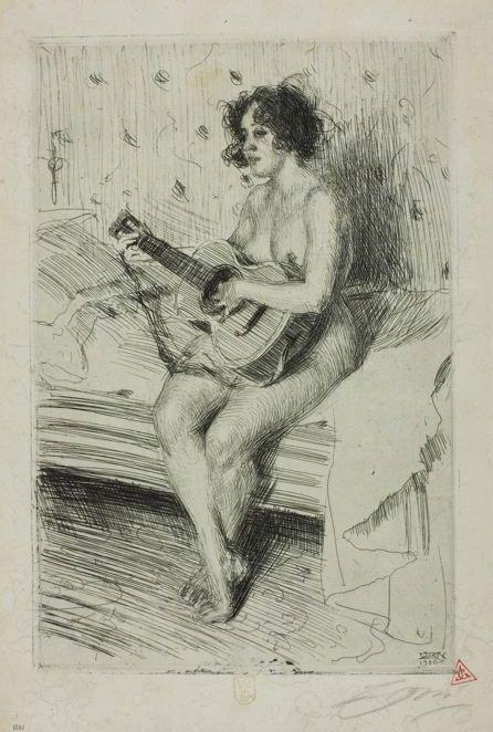 famous painting The Guitar Player of Anders Leonard Zorn