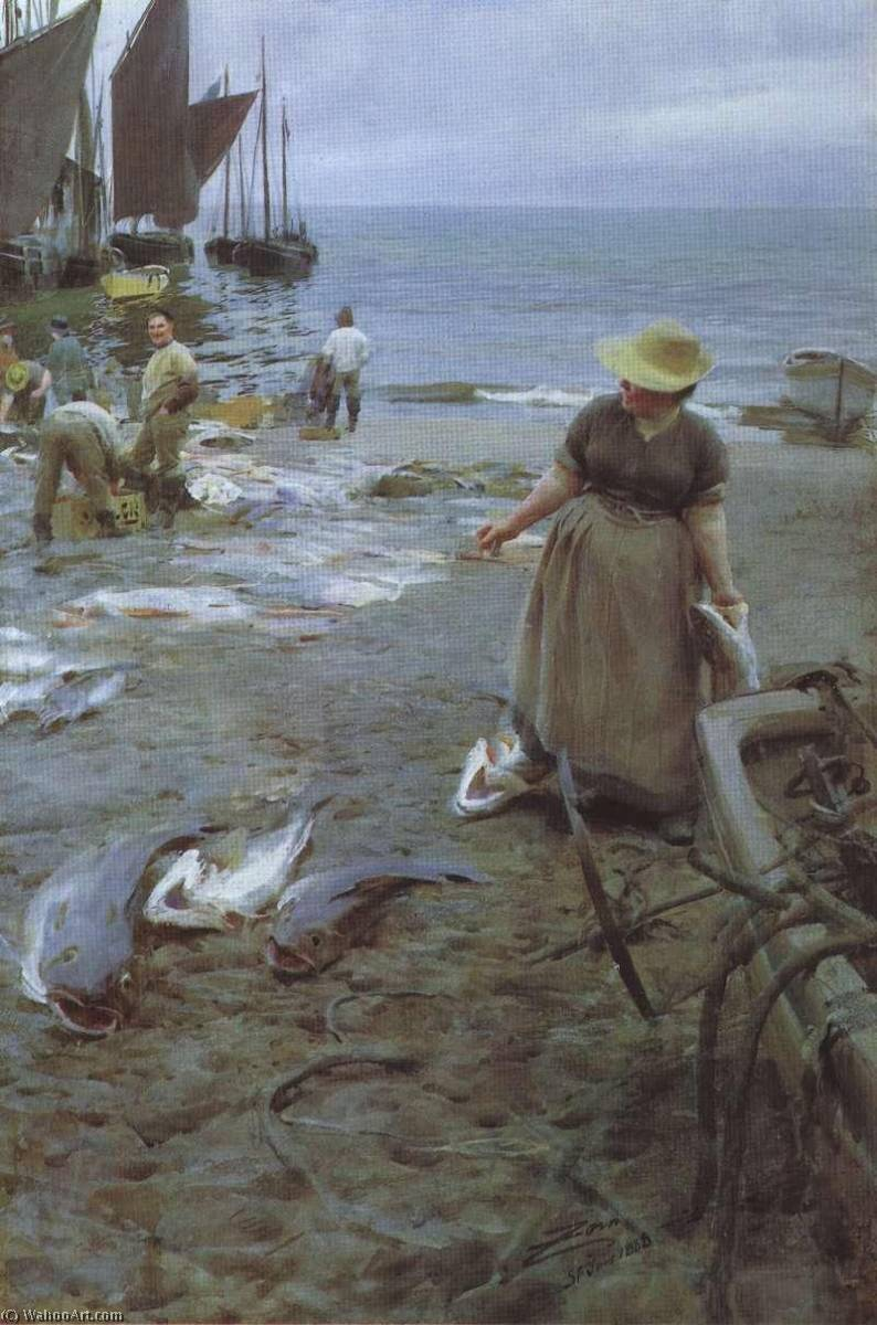 famous painting Fish Market in Saint Ives of Anders Leonard Zorn