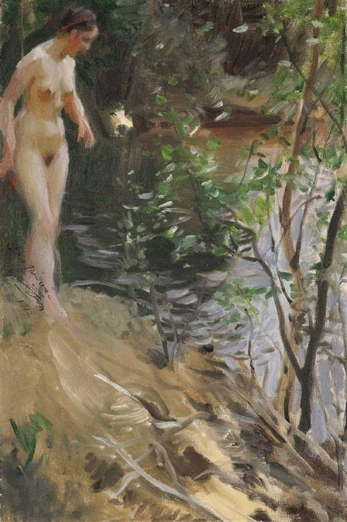 famous painting Model at Shore of Anders Leonard Zorn