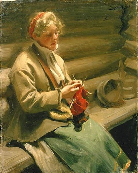 famous painting Girl from Dalecarlia knitting. Cabbage Margit of Anders Leonard Zorn