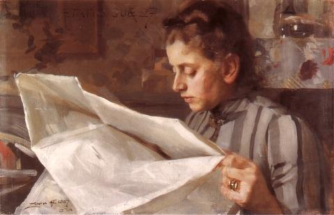 famous painting Emma Zorn reading of Anders Leonard Zorn