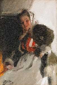 Anders Leonard Zorn - By the fireplace