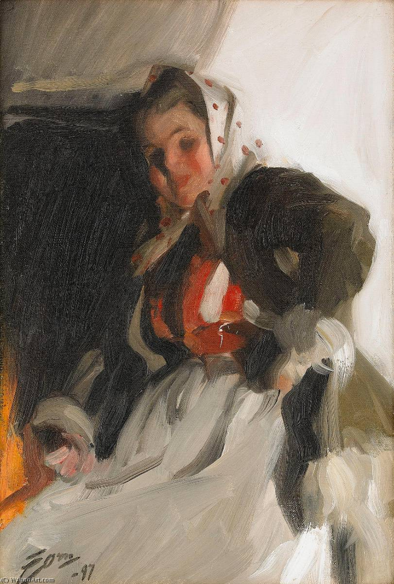 famous painting By the fireplace of Anders Leonard Zorn