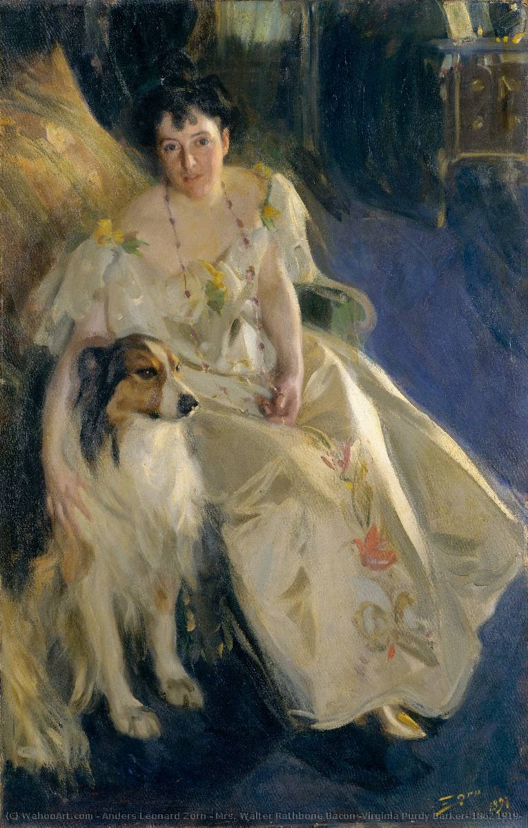 famous painting Mrs. Walter Rathbone Bacon (Virginia Purdy Barker, 1862 1919) of Anders Leonard Zorn