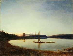 James Francis Danby - A Lake by Sunset