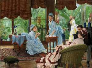 James Jaques Joseph Tissot - In the Conservatory (also known as The Rivals)