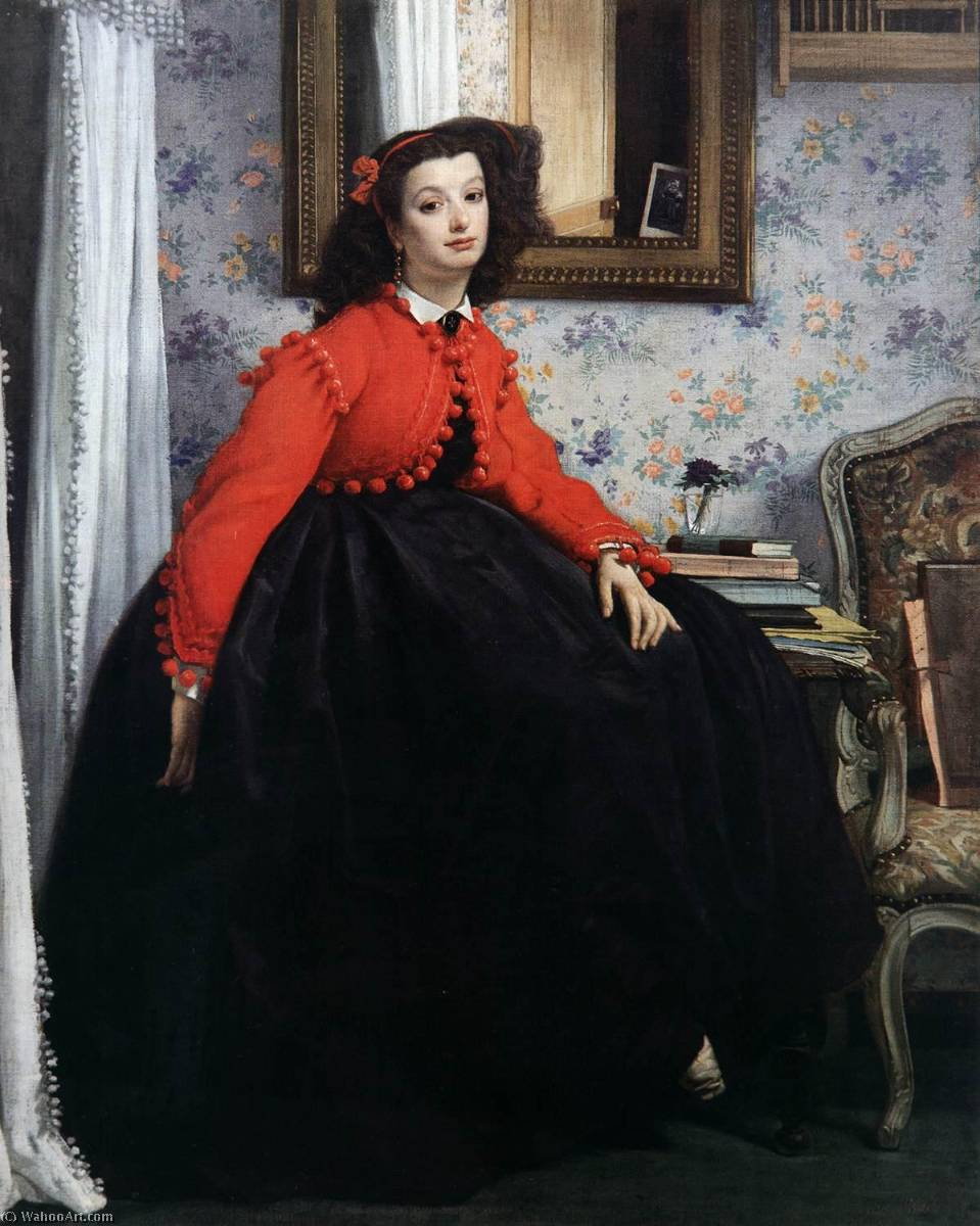 famous painting Portrait of Miss L.L. or Girl in a Red Jacket of James Jacques Joseph Tissot