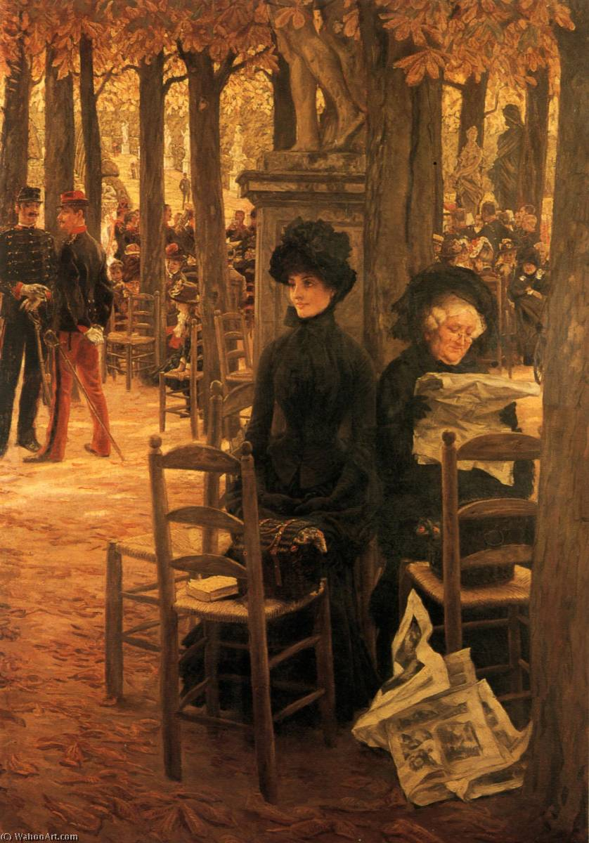 famous painting English Without a Dowry (also known as Sunday in the Luxembourg Gardens ) Français Sans Dot of James Jacques Joseph Tissot