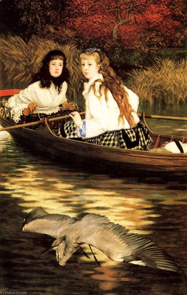 famous painting English On the Thames. A Heron of James Jacques Joseph Tissot
