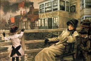 James Jaques Joseph Tissot - English Waiting for the Ferry I