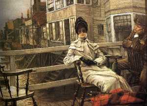 James Jaques Joseph Tissot - English Waiting for the Ferry II