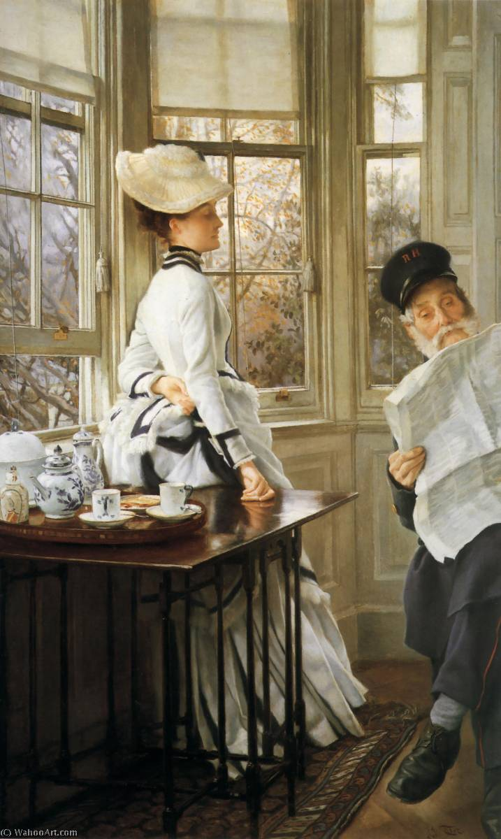 famous painting English Reading the News of James Jacques Joseph Tissot