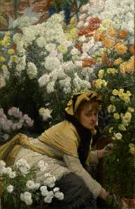 James Jaques Joseph Tissot - English Chrysanthemums