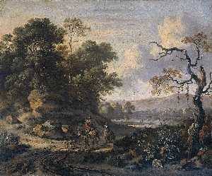 Jan Jansz Wijnants - Landscape with Donkey Rider