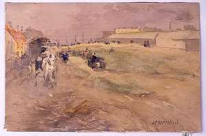 Jean-François Raffaelli - Suburban Landscape (Scene with Horse and Carriage)