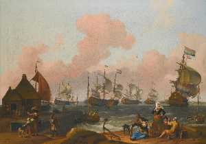Ludolf Backhuysen - A coastal landscape with many figures on the shore by a quay, with several two deckers in a stiff breeze beyond