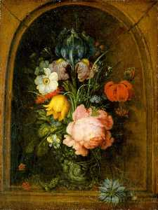Roelant Savery - Flowers in a Niche