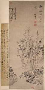 Dong Qichang - 明 董其昌 倣倪瓚山水圖 軸 Landscape with Trees in the Manner of Ni Zan (1301–1374)