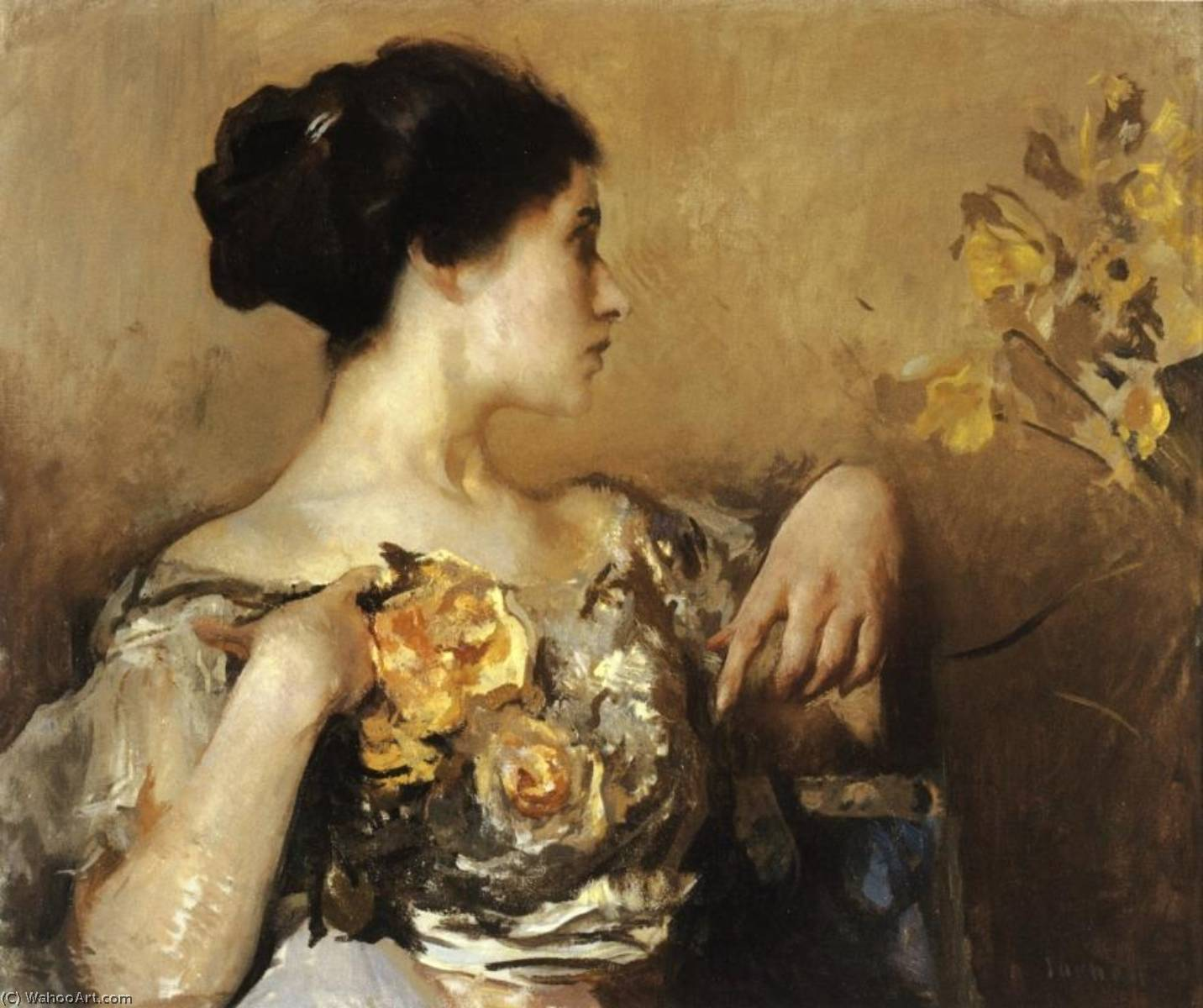 famous painting Lady with a Corsage of Edmund Charles Tarbell