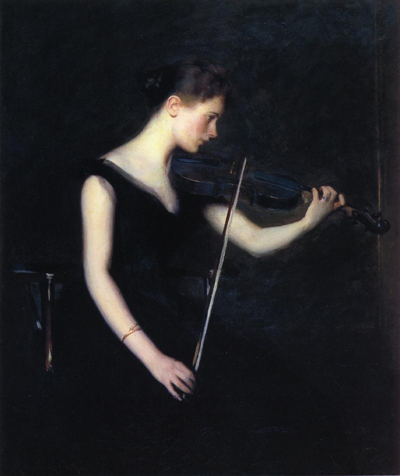 famous painting Girl with Violin (also known as The Violinist) of Edmund Charles Tarbell