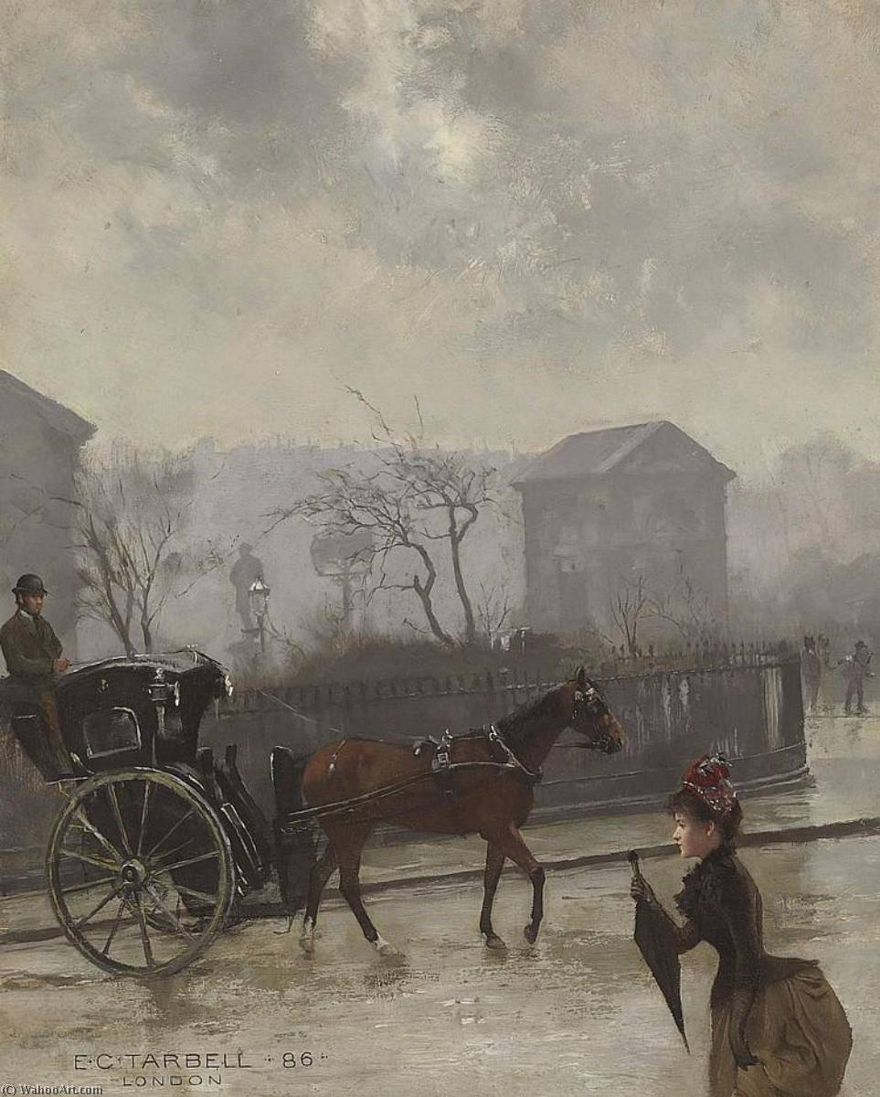 famous painting Hansom Cab in London of Edmund Charles Tarbell