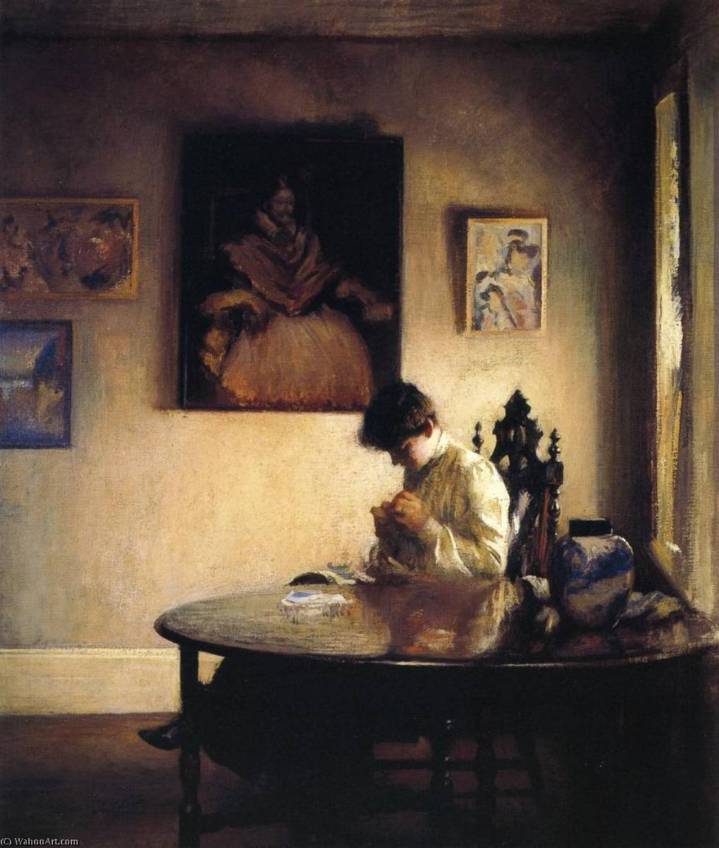 famous painting A Girl Crocheting of Edmund Charles Tarbell