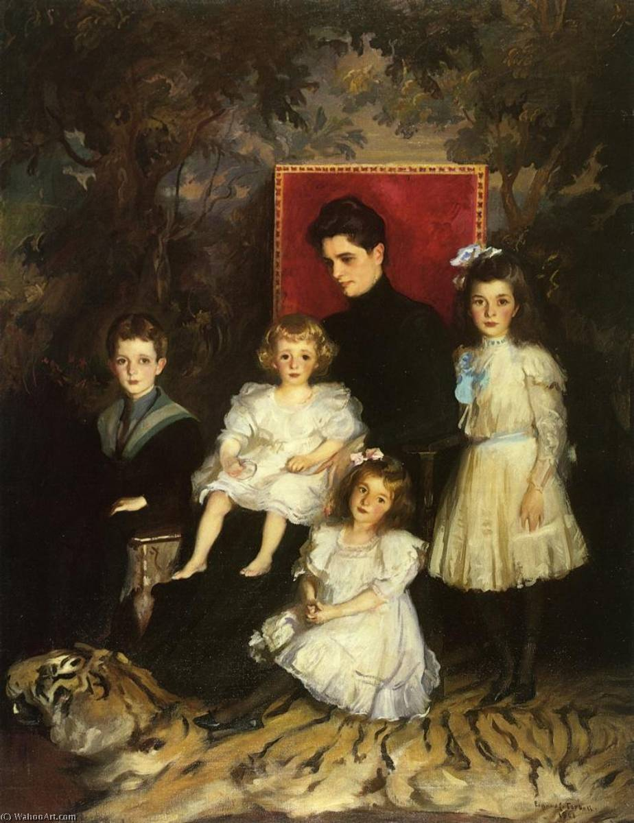 famous painting Mrs. Horatio Nelson Slater and Her Children of Edmund Charles Tarbell