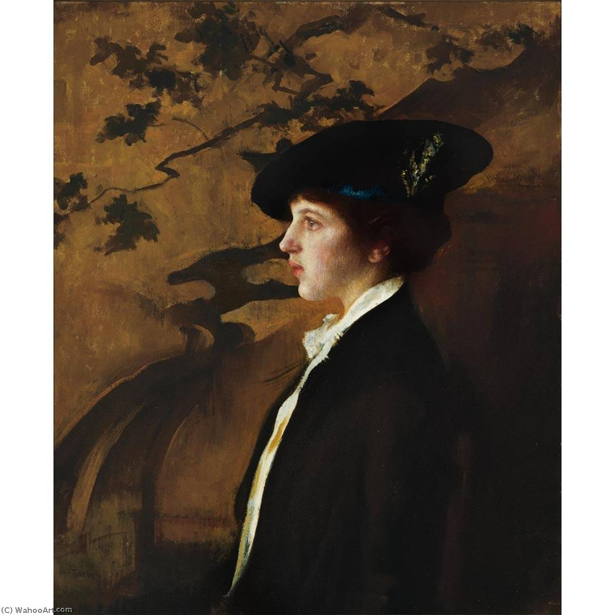 famous painting Mary with a Black Hat of Edmund Charles Tarbell