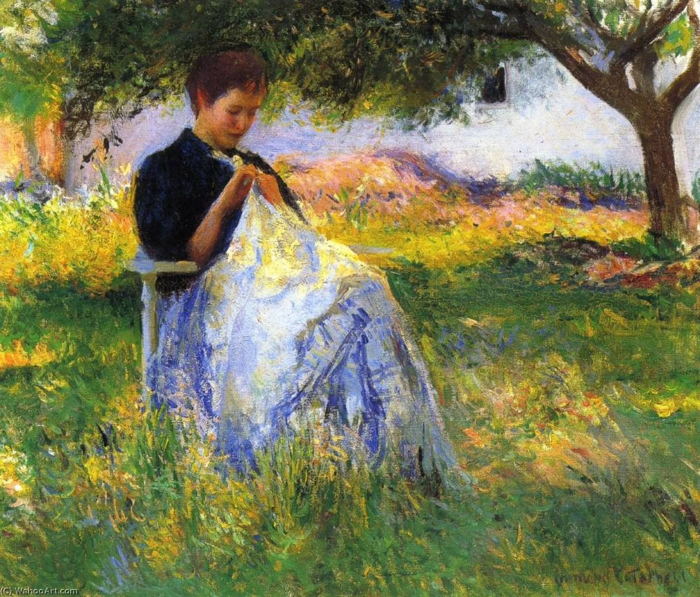 famous painting A Girl Sewing in an Orchard of Edmund Charles Tarbell