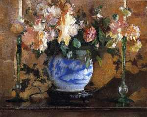 Edmund Charles Tarbell - Flowers in a Blue Ginger Jar