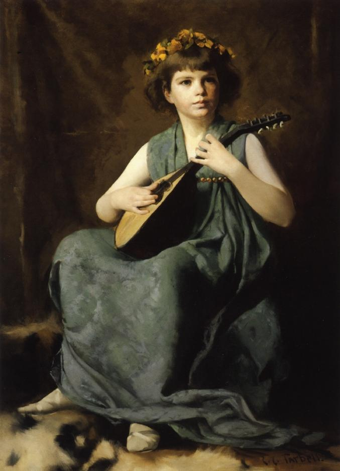 famous painting Marion Hiller Fenno at Nine as Mandolinata of Edmund Charles Tarbell