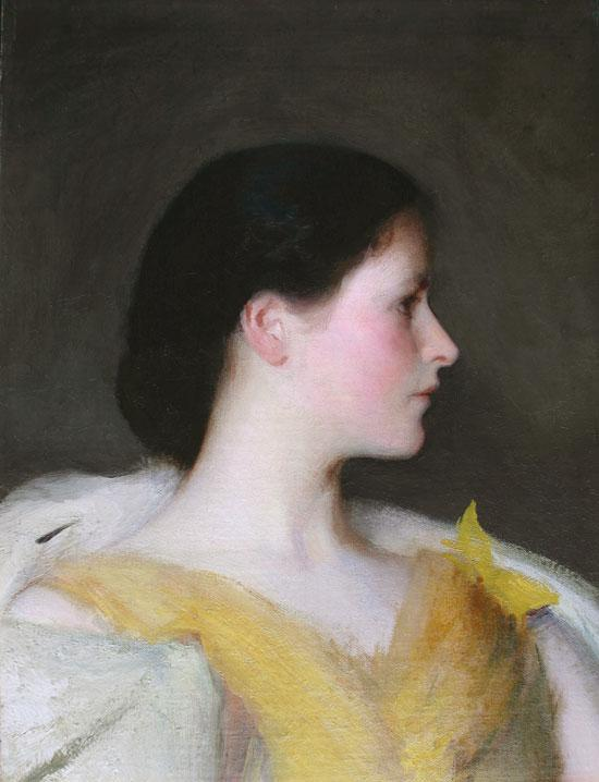 famous painting Girl's Head (Lydia Hatch) of Edmund Charles Tarbell