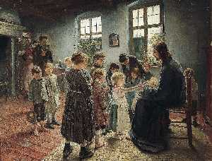 Fritz Von Uhde - Let the Children Come