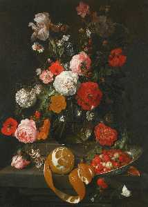 Cornelis Jansz De Heem - A still life of roses, poppies, lillies and other flowers in a glass vase on a marble shelf beneath a partly peeled orange and fraises de bois in a Wan Li porcelain dish, both on a projecting marble ledge