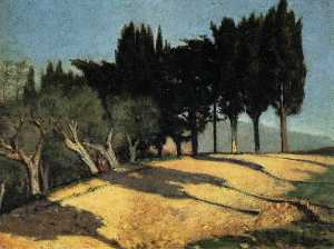 Giuseppe Abbati - Country Road with Cypresses