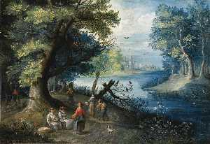 Balthasar Beschey - A river landscape with figures