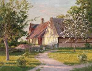 Johan Krouthén - Farm with blooming apple trees