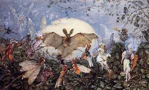 John Anster Christian Fitzgerald - Fairy Hordes Attacking a Bat