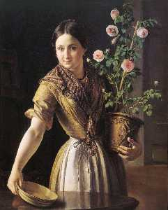 Vasily Andreyevich Tropinin - Girl with Roses