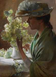 Charles Courtney Curran - Lady with a Bouquet (also known as Snowballs)