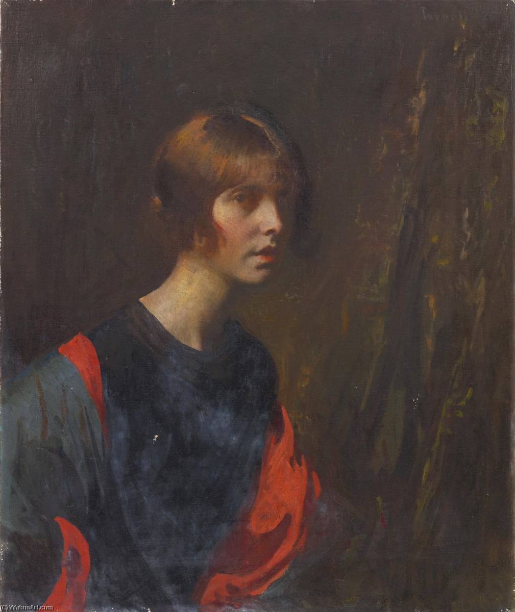Order Paintings Reproductions Impressionism | Crimson and Gold by Edmund Charles Tarbell | TopImpressionists.com