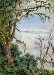 Marianne North - Panch Choola from Binsur, with Oak Trees and Grey Apes in the Foreground