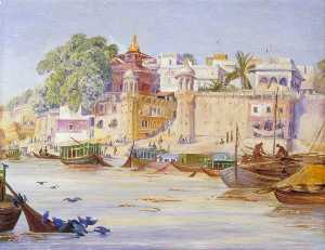 Marianne North - Nepalese Temple and Peepul Tree with Blue Pigeons Bathing, Benares, India