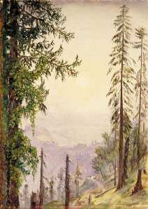 Marianne North - Sunrise among the Pines near Fagoo in the Himalayas