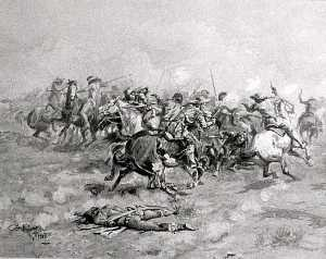Charles Marion Russell - The Trappers Passed Through Them with Their Colts Revolvers, (painting)